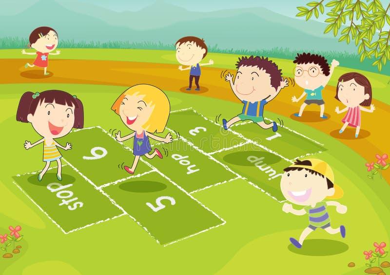 Jonge vrienden die hinkelspels spelen vector illustratie