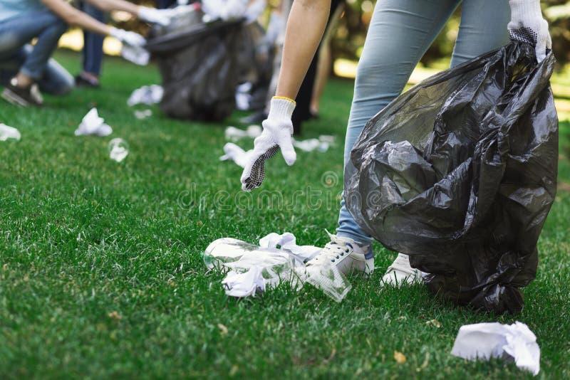 Jonge vrijwilligers die huisvuil in suumerpark verzamelen stock afbeeldingen