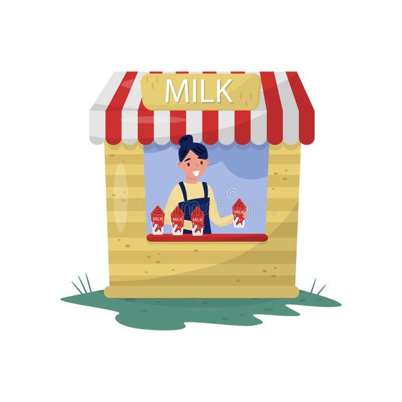 Jonge vrolijke meisjes verkopende melk in kleine box met teken Organische en gezonde drank zuivellandbouwproduct Vlakke vector vector illustratie