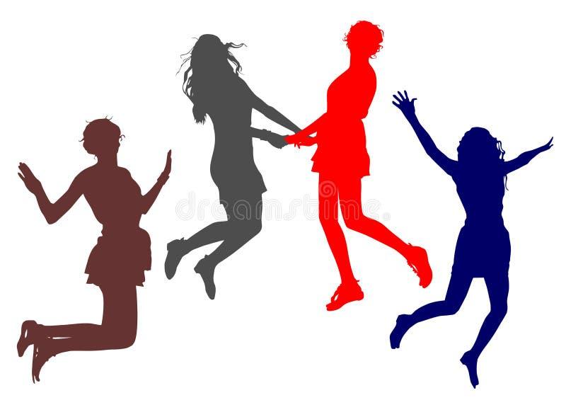 Jonge vrolijke meisjessprong die samen handen met elkaar omhoog houden royalty-vrije stock foto's