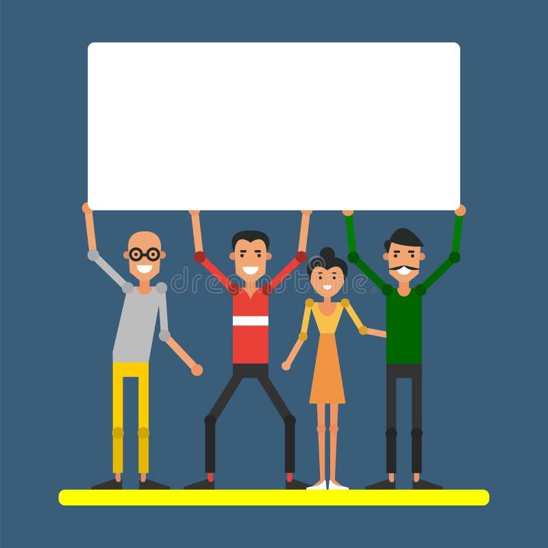 Jonge vrolijke mensen die een teken met lege ruimte voor inscri houden royalty-vrije illustratie