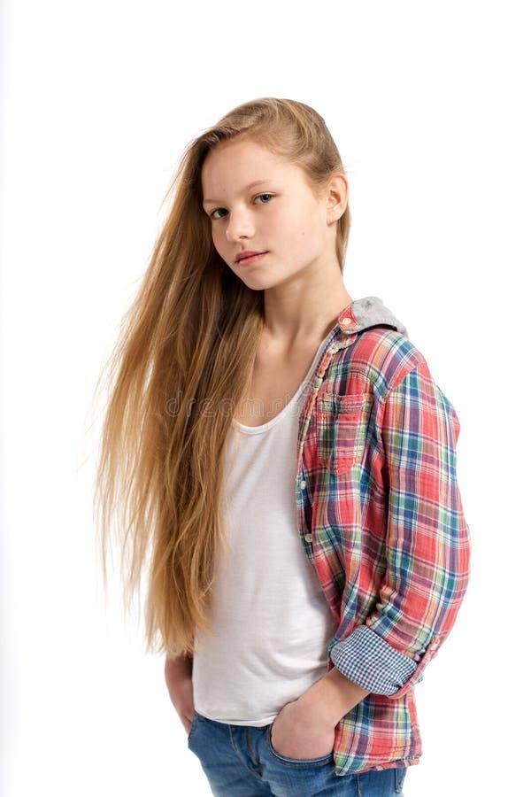 Jonge vrolijke tiener op witte achtergrond royalty-vrije stock afbeeldingen