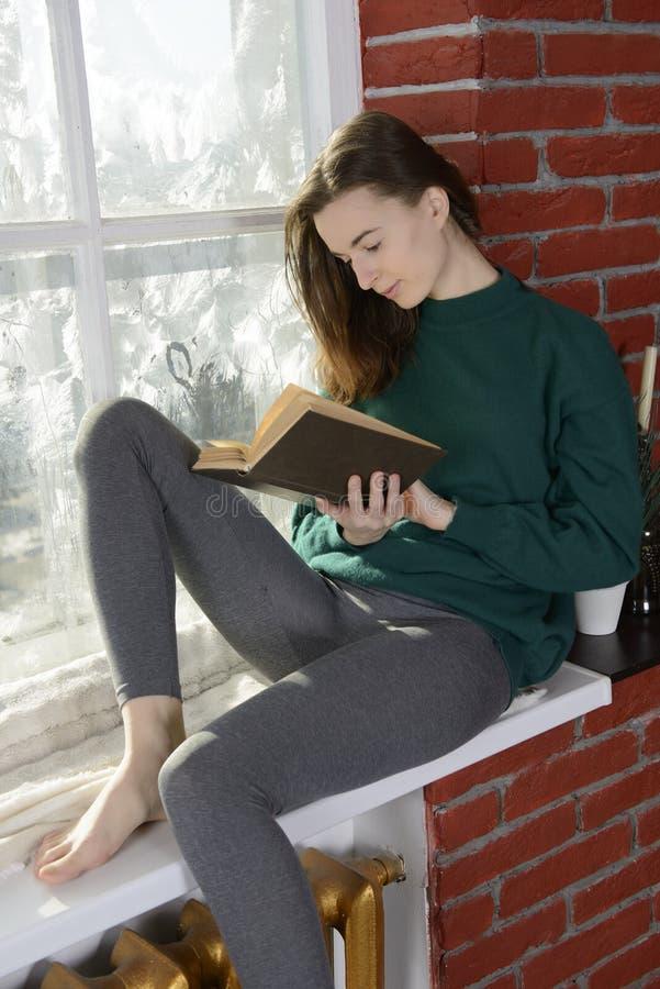 Jonge vrouw bij het de wintervenster stock foto
