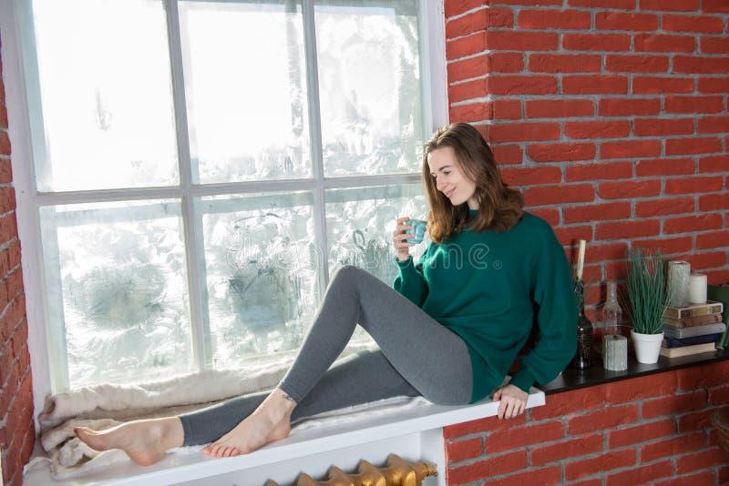 Jonge vrouw bij het de wintervenster stock afbeeldingen