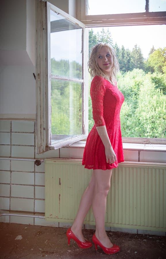 Jonge vrouw bij venster II stock afbeelding