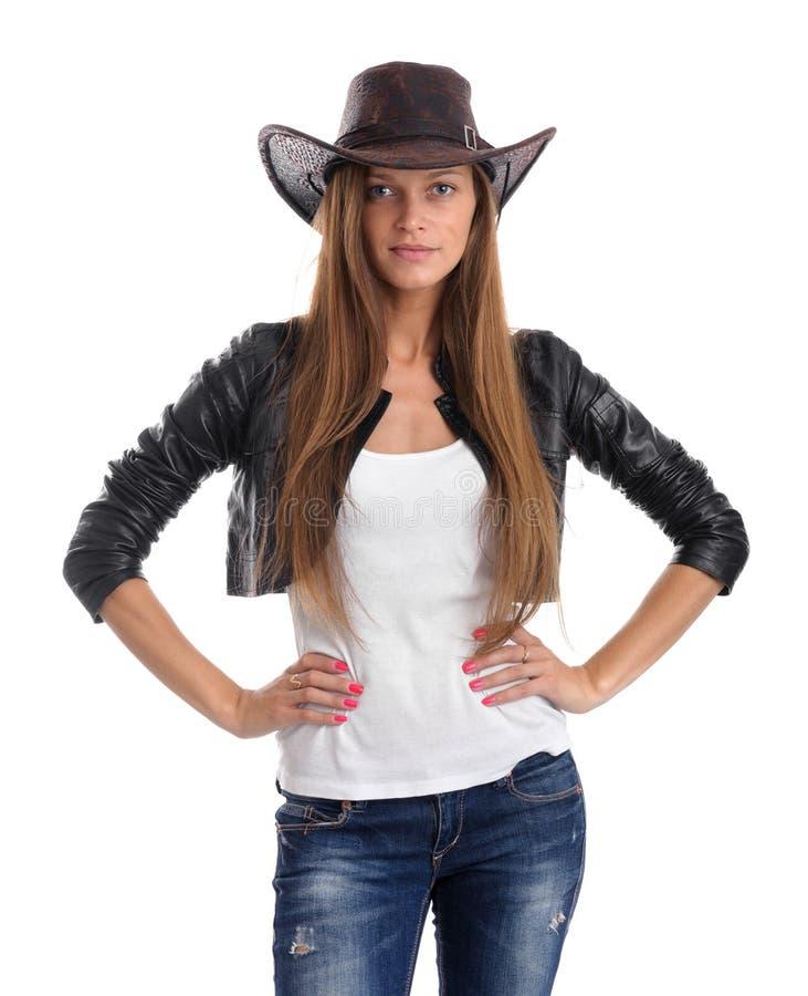 Jonge vrouw in cowboyhoed royalty-vrije stock foto's