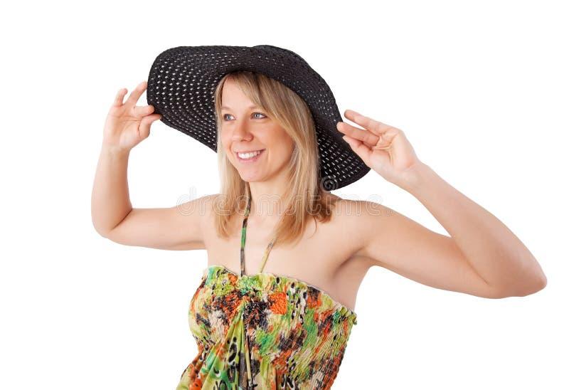 Jonge vrouw in de zomerkleding stock afbeeldingen
