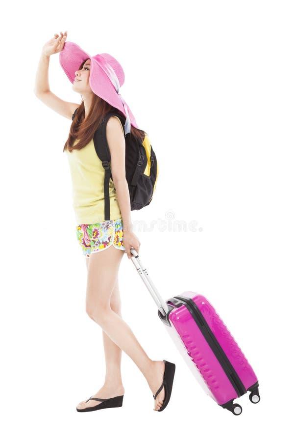 Jonge vrouw in de zomeruitrusting stock foto's