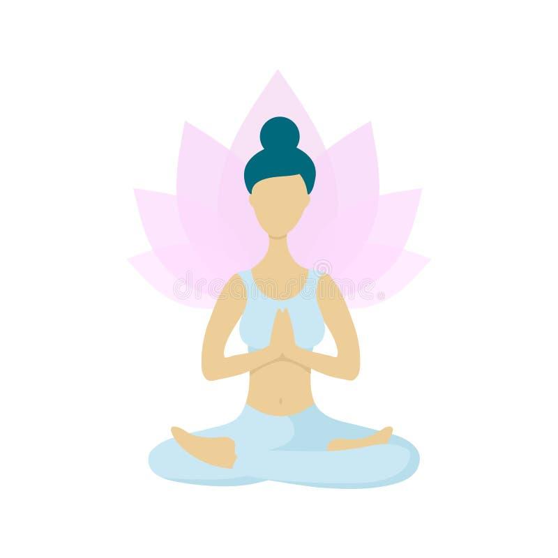 Jonge vrouw die in de positie van de lotusbloemyoga mediteren vector illustratie