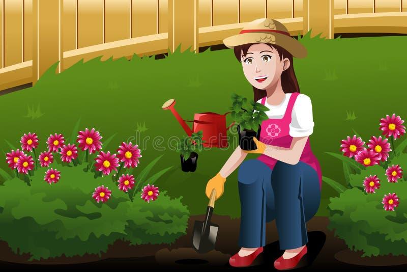 Jonge vrouw die in de werf werken stock illustratie