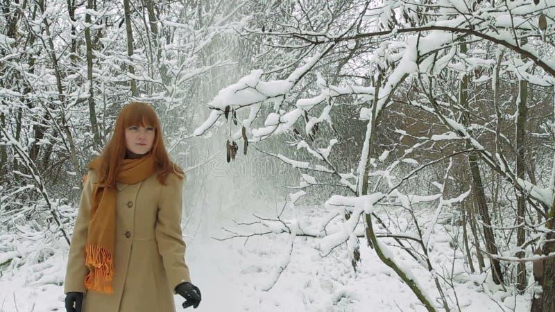 Jonge Vrouw die in de Winterbos lopen stock footage