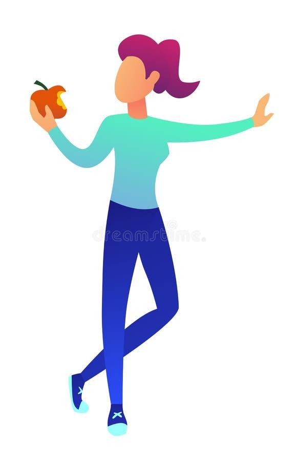 Jonge vrouw die een appel vectorillustratie eten vector illustratie