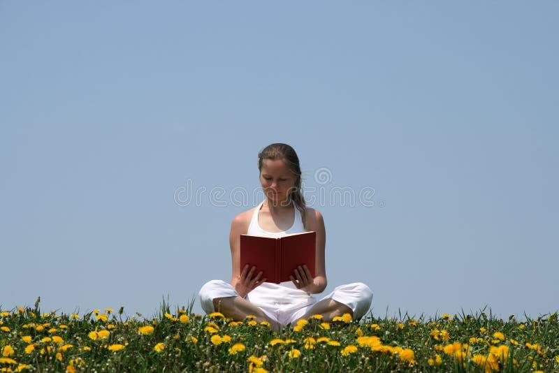 Jonge vrouw die een boek leest stock afbeelding