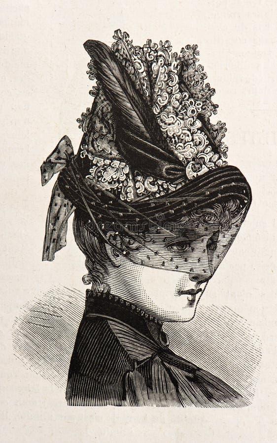 Jonge vrouw die een elegante hoed draagt vector illustratie