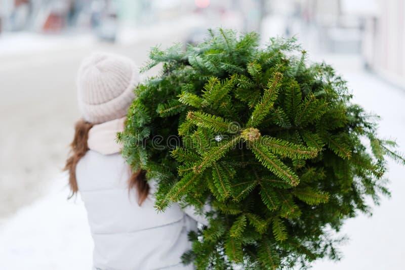 Jonge vrouw die een Kerstmisboom dragen stock foto