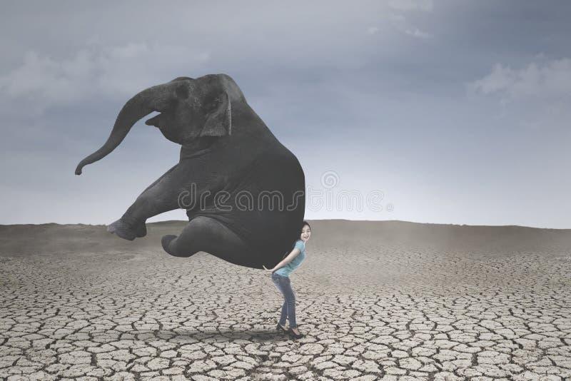 Jonge vrouw die een olifant dragen royalty-vrije stock fotografie