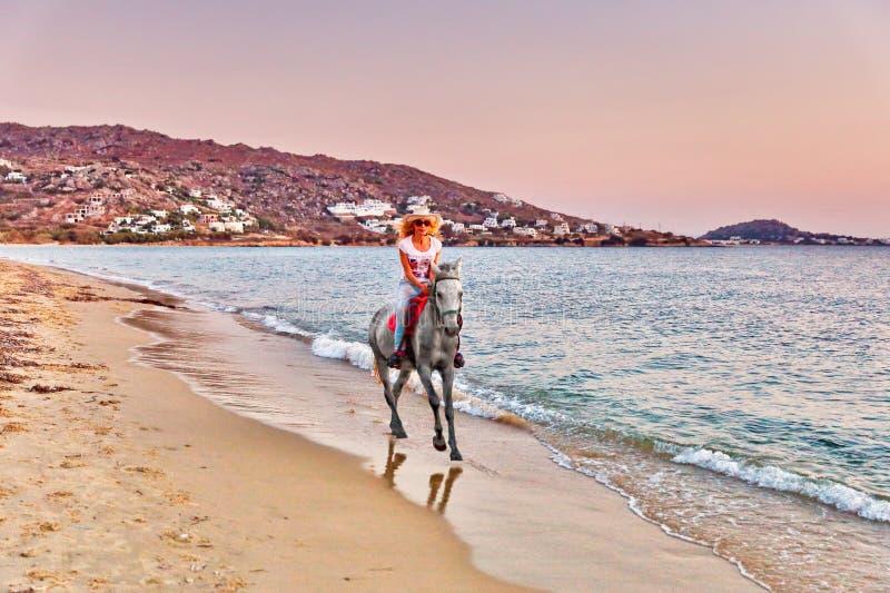 Jonge vrouw die een paard berijdt stock afbeeldingen