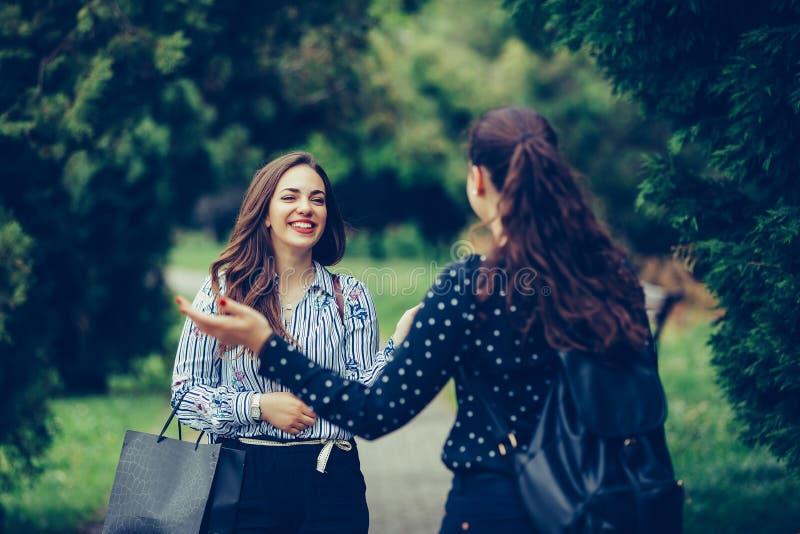 Jonge vrouw die in een park lopen en toevallig haar beste vriend ontmoeten stock afbeelding