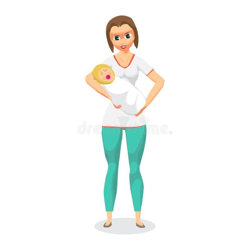 Jonge vrouw die een pasgeboren baby in haar wapens houden Mamma met Kind royalty-vrije illustratie