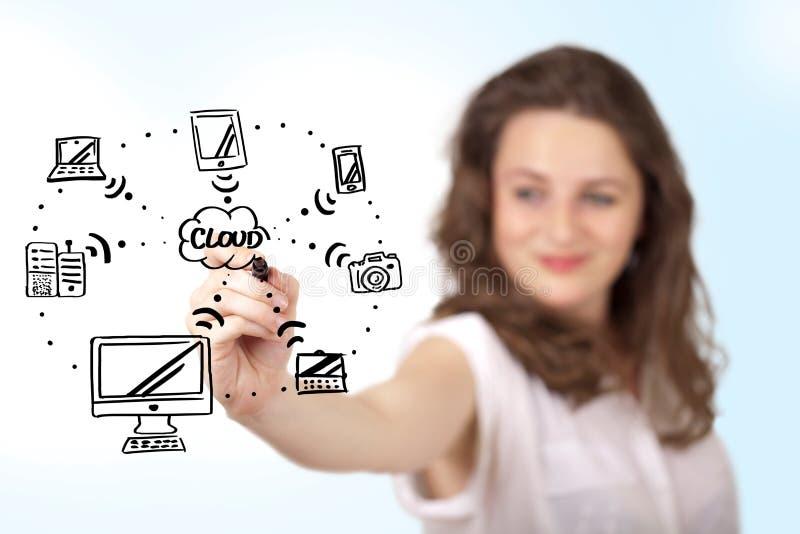 Jonge vrouw die een wolk trekken die op whiteboard gegevens verwerken stock afbeeldingen
