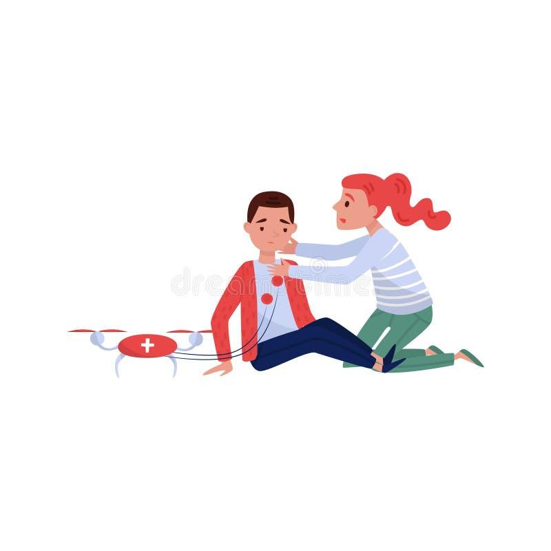 Jonge vrouw die eerste hulp teruggeven aan de verwonde jonge mens die die medische apparatuur met behulp van door een quadrocopte royalty-vrije illustratie