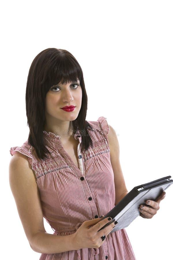 Download Jonge Vrouw Die Elektronische Tablet Houden Stock Foto - Afbeelding bestaande uit organisator, close: 39107574