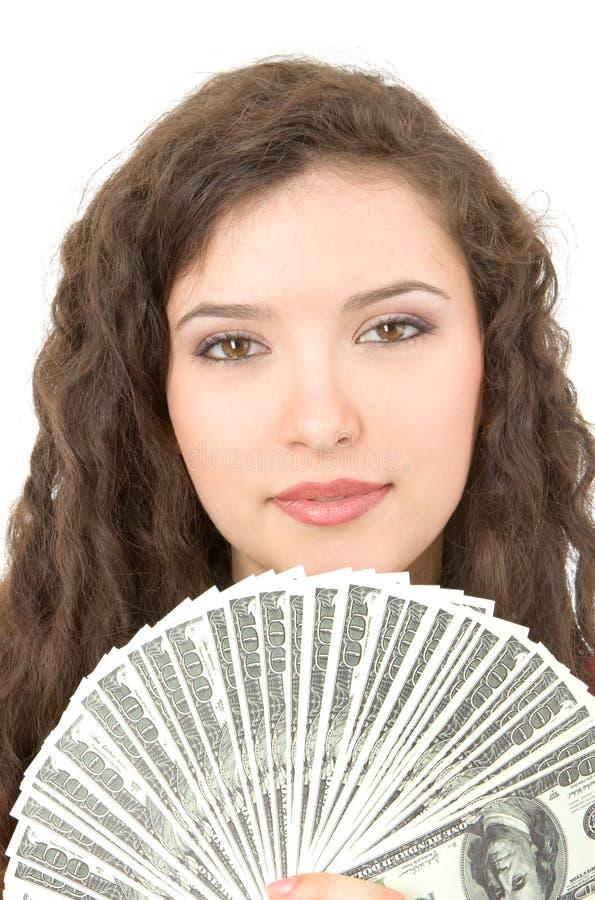 Jonge vrouw die geld toont royalty-vrije stock foto