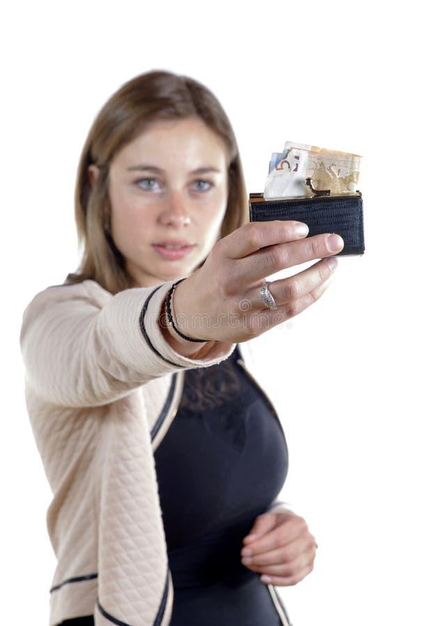 Jonge vrouw die geld toont stock fotografie