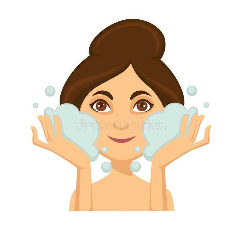 Jonge vrouw die haar gezicht met het reinigen van schuim wassen vector illustratie