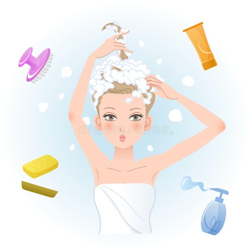 Jonge vrouw die haar haar met lichaam/haarverzorgingproducten inzepen royalty-vrije illustratie