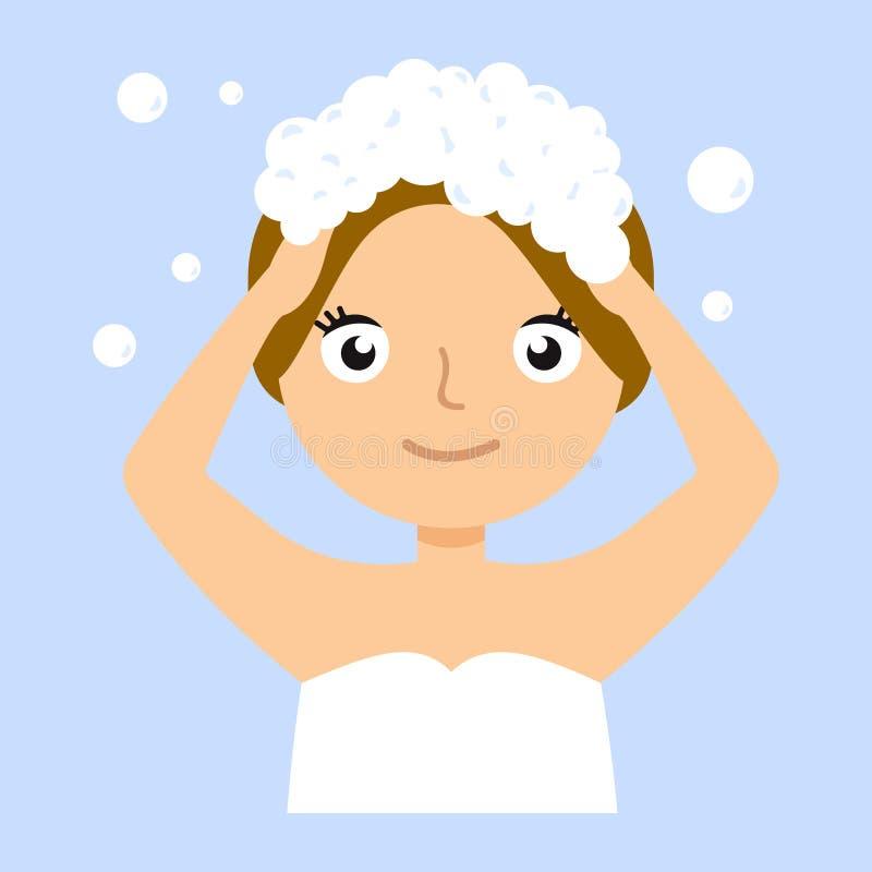 Jonge vrouw die haar hoofd met shampoo wassen vector illustratie