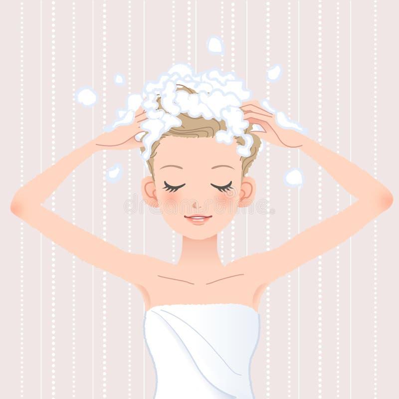 Jonge vrouw die haar hoofd met shampoo wassen stock illustratie