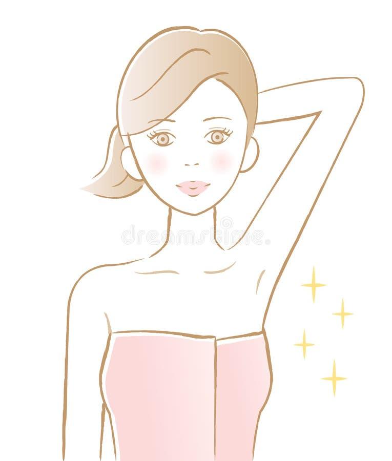 Jonge vrouw die haar vlotte oksel tonen Schoonheid en het concept van de huidzorg royalty-vrije illustratie