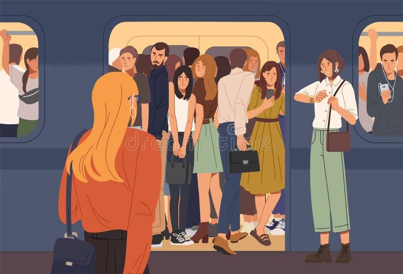 Jonge vrouw die het hoogtepunt van de metroauto van mensen probeert in te gaan Ondergronds overladen of metro Probleem van stad vector illustratie