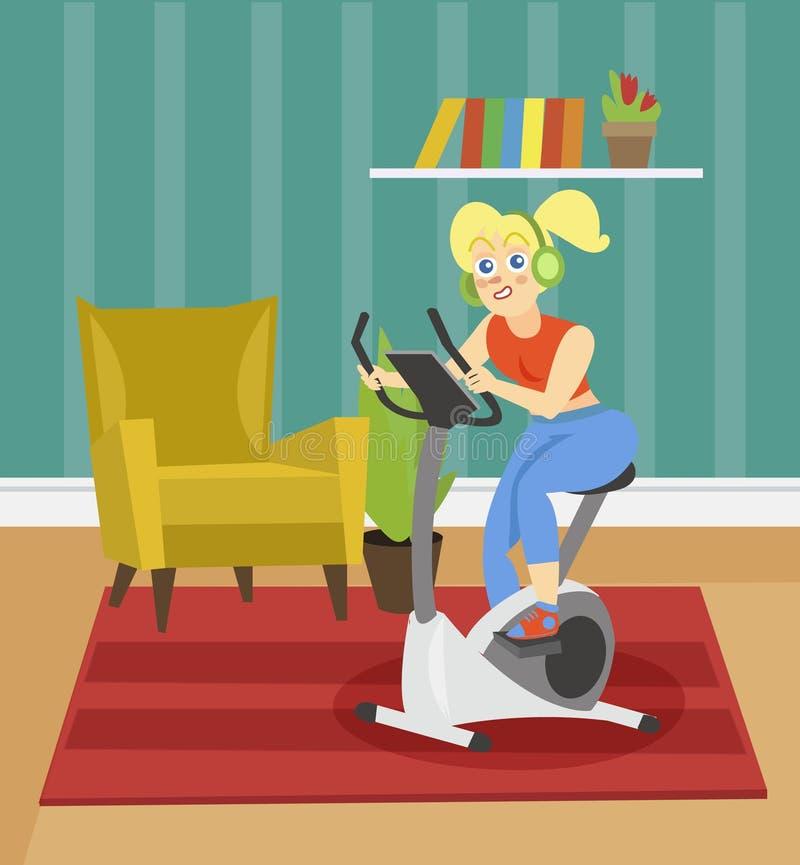 Jonge vrouw die in hoofdtelefoons op een hometrainer op de achtergrond van de vectorillustratie van de woonkamerflat opleiden stock illustratie