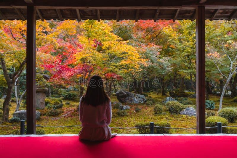 Jonge vrouw die in Japan een mooie herfst ziet royalty-vrije stock fotografie