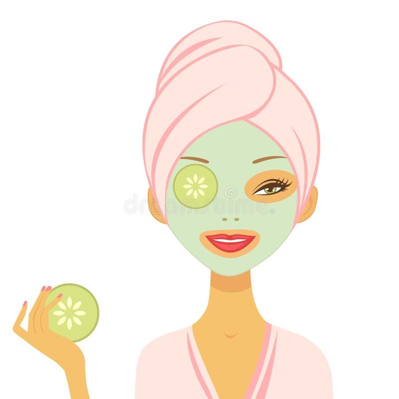 Jonge vrouw die komkommermasker toepassen vector illustratie