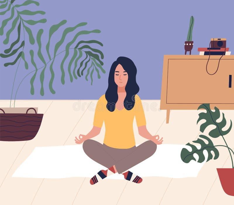 Jonge vrouw die met gesloten ogen dwars legged bij vloer en het mediteren zit Meditatie, ontspanning thuis, spiritual vector illustratie