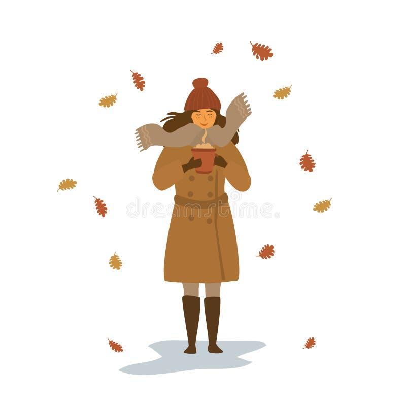 jonge vrouw die met hete drank in een mok in het park onder de dalende droge scène van de de herfstbladeren geïsoleerde vectorill stock illustratie