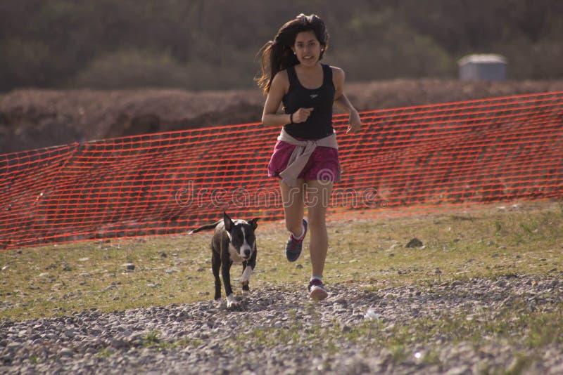 Jonge vrouw die met hond loopt stock foto's