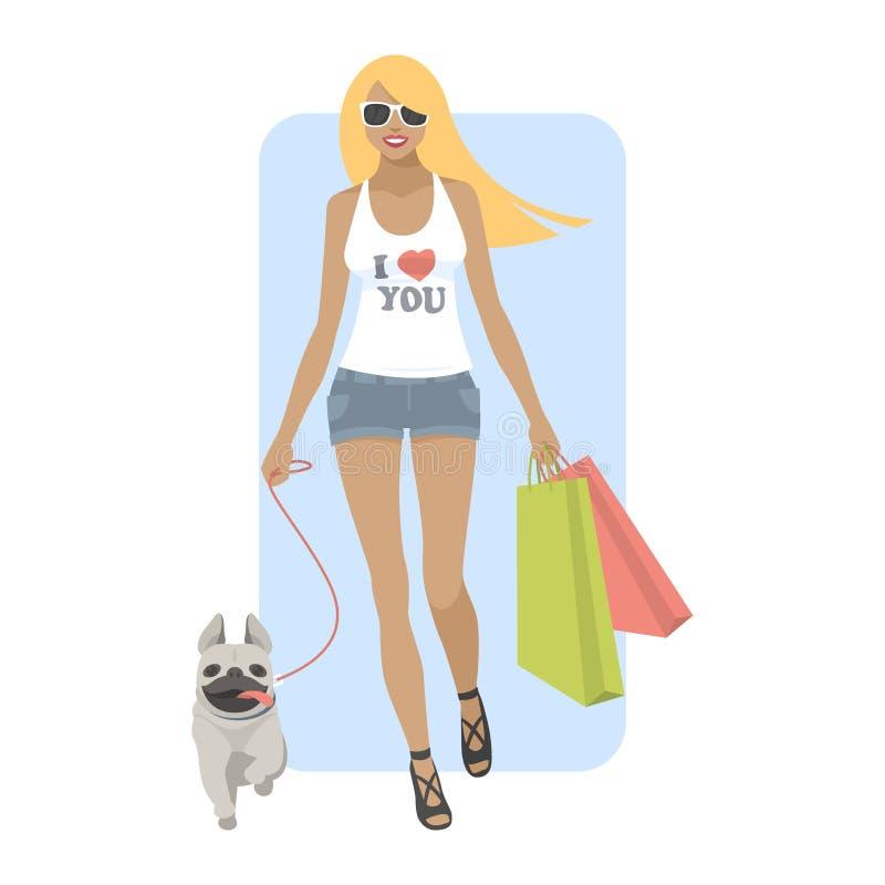 Jonge vrouw die met hondpug lopen vector illustratie