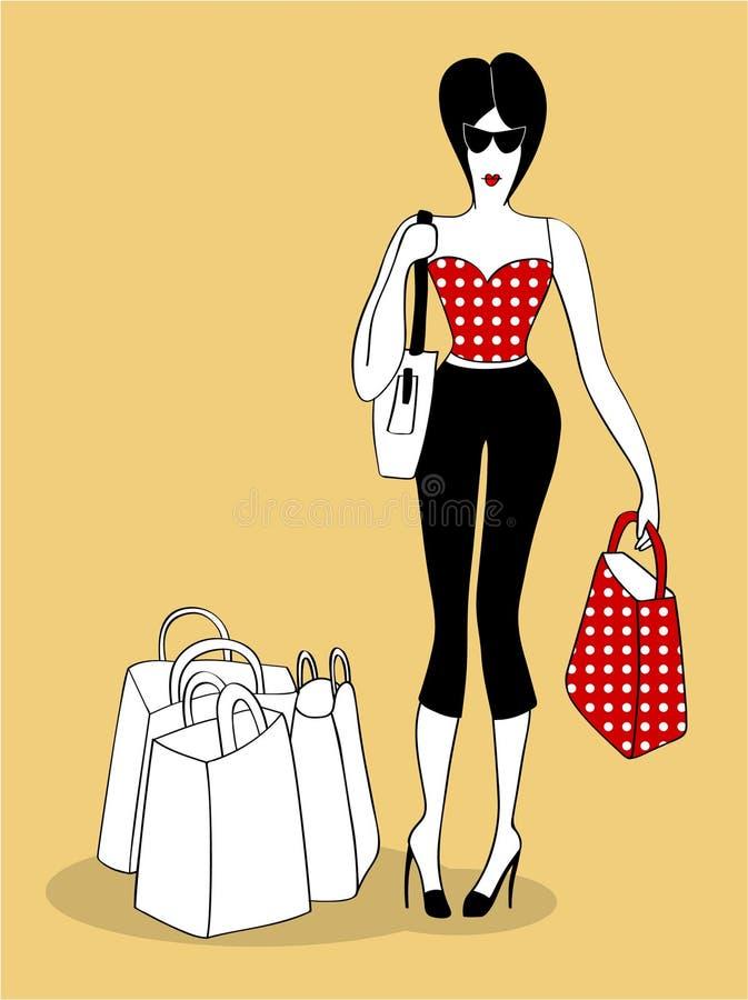 Jonge vrouw die met zakken winkelt stock afbeelding