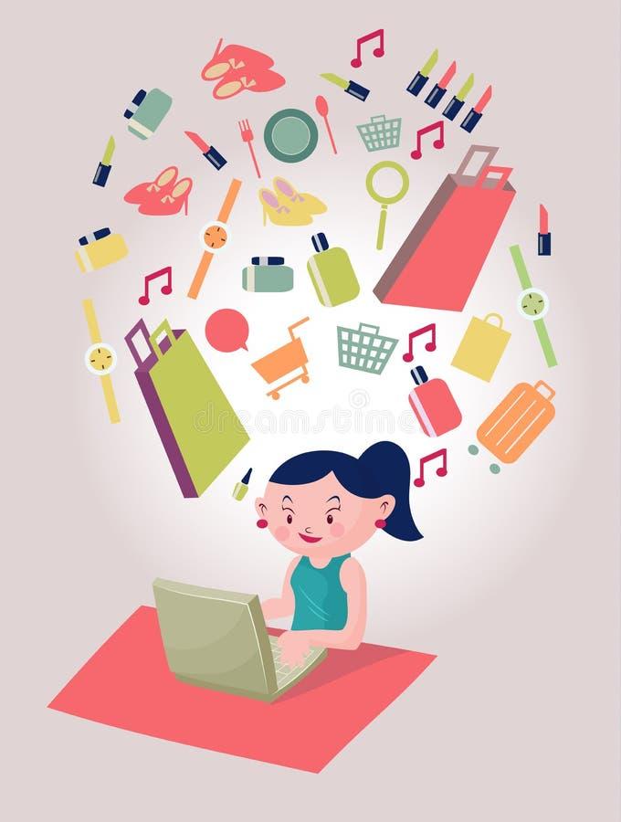 Jonge vrouw die online met een creditcard en een computer winkelen stock illustratie