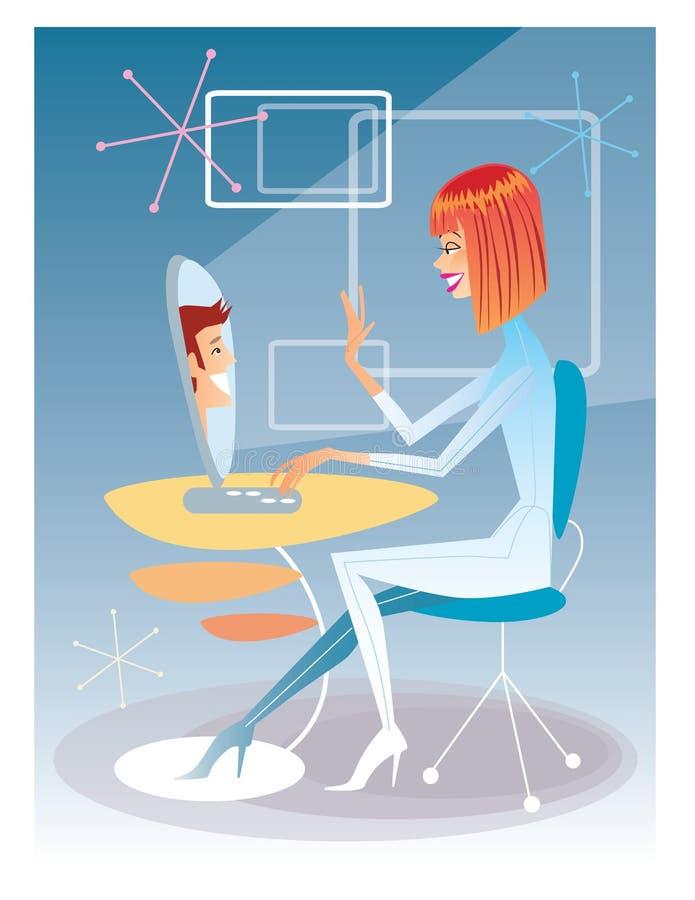 Jonge vrouw die op de computer met jonge man futuristi spreken vector illustratie