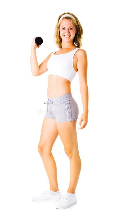 Download Jonge Vrouw Die Op Wit Uitwerkt Stock Afbeelding - Afbeelding bestaande uit fysiek, losing: 10783439