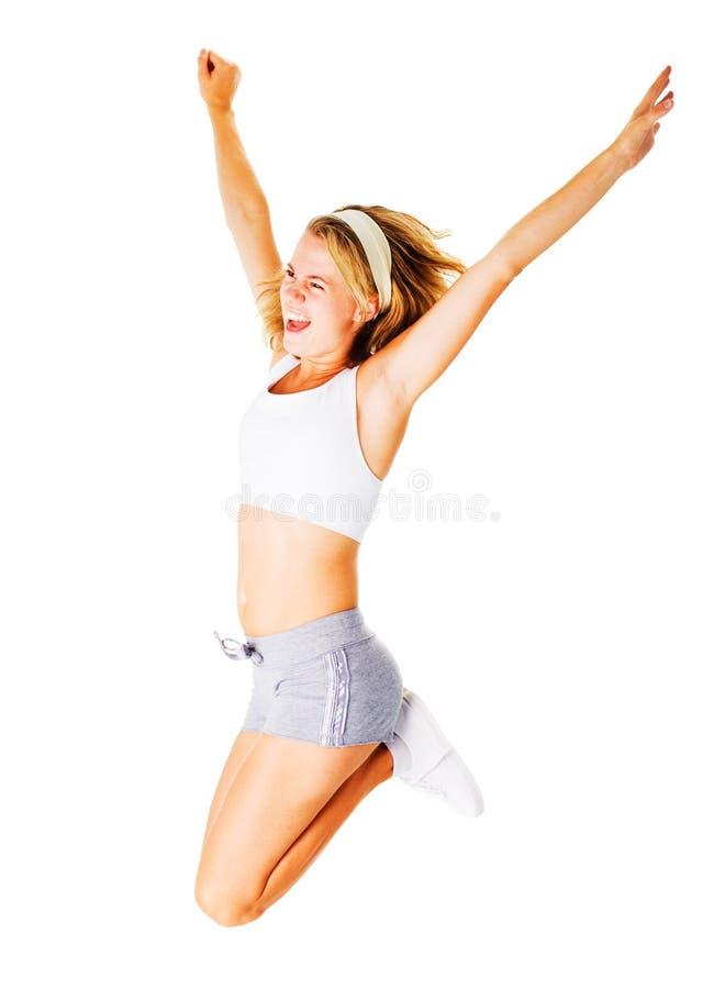 Download Jonge Vrouw Die Op Wit Uitwerkt Stock Foto - Afbeelding bestaande uit dieet, schoonheid: 10783454