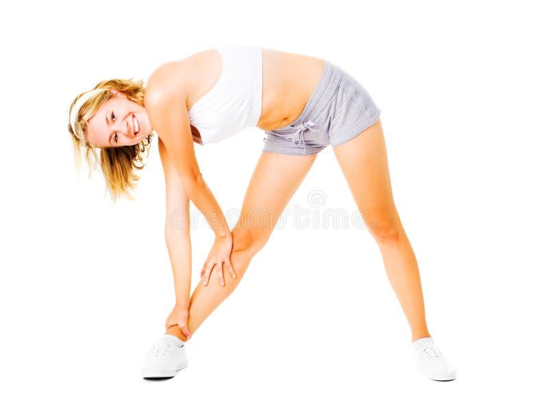 Download Jonge Vrouw Die Op Wit Uitwerkt Stock Foto - Afbeelding bestaande uit recreatie, achtergrond: 10783654
