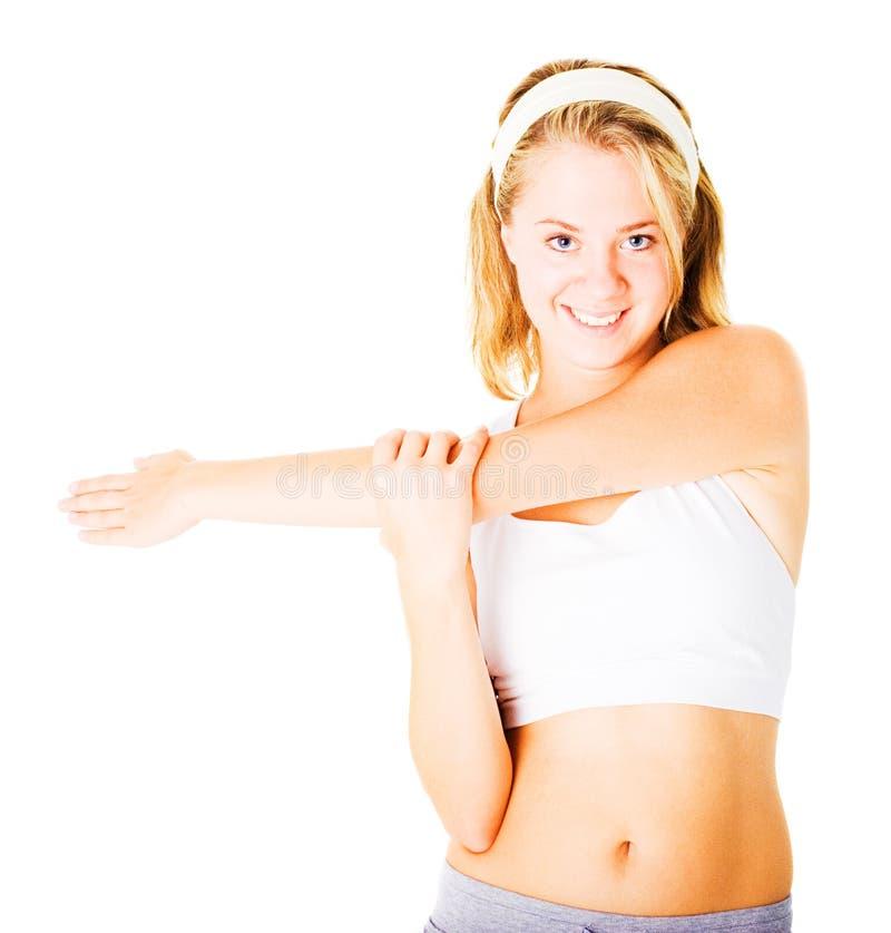 Download Jonge Vrouw Die Op Wit Uitwerkt Stock Afbeelding - Afbeelding bestaande uit looking, kaukasisch: 10783667