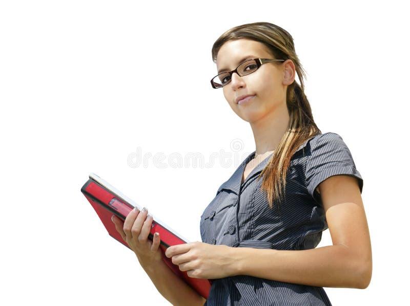 Jonge vrouw die op witte achtergrond wordt geïsoleerdt royalty-vrije stock foto's