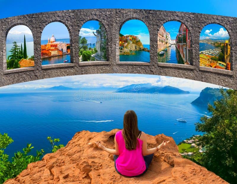 Jonge Vrouw die in openlucht mediteert stock fotografie